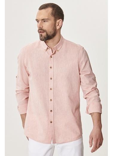 AC&Co / Altınyıldız Classics Tailored Slim Fit Dar Kesim Düğmeli Yaka Keten Gömlek 4A2021200036 Oranj